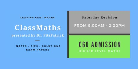 Carlow - One Day Intensive Leaving Cert Maths Revision tickets