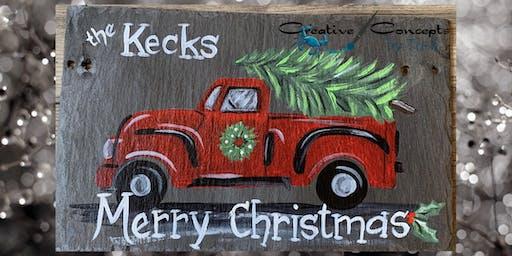 Red Christmas Truck Slate