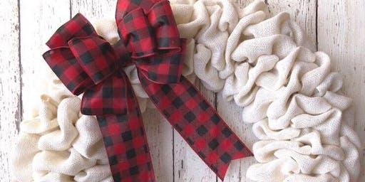 Wine & Design: Holiday Burlap Wreath