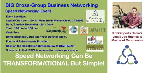BIG Cross-Group Business Networking Event ★Speed Networking ★Food ★Walnut Creek