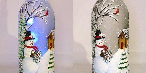 Christmas Lighted Wine Bottle Painting Event