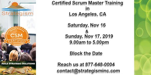 Certified Scrum Master (CSM) Training in Los Angeles-Nov 16,17-2019