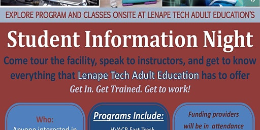 Lenape Tech Adult Education Student Info Night & Open House