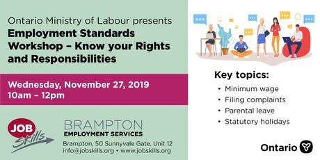 Employment Standards Workshop - Know your Rights and Responsibilities tickets