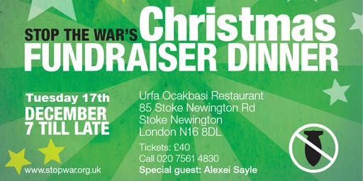 Stop the War Christmas Fundraiser Dinner
