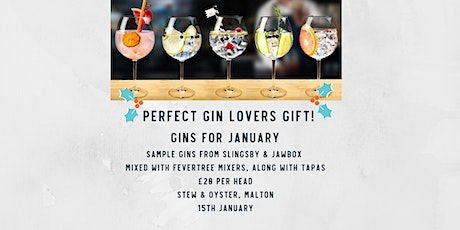 Gins for January.  Stew & Oyster, Malton tickets