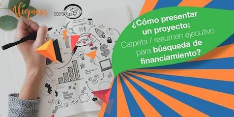 ¿Cómo presentar un proyecto ARTÍSTICO para búsqueda de financiamiento? entradas