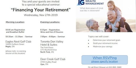 Financing Your Retirement - financial literacy seminar tickets