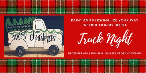 Paint and Personalize wooden Truck Night 23 by 16 , Instruction by Becka