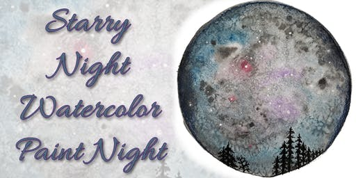 Starry Night Watercolor with Salt Effect