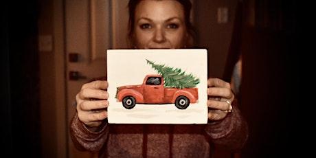 Little Vintage Christmas Truck - paint lesson tickets