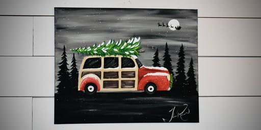 Christmas Woody Wagon paint lesson