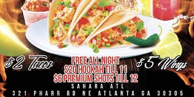 $2 TUESDAYS AT SAHARA HOOKAH LOUNGE