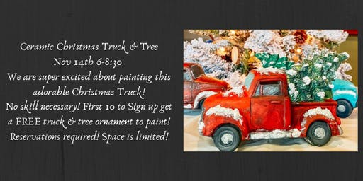 Ceramic Christmas Truck & Tree Paint Night