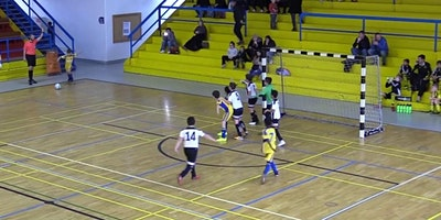 Youth Soccer Futsal Training and Playing.