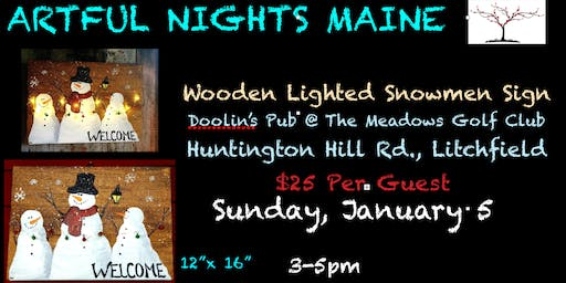 Wooden Lighted Snowmen Sign Doolin's Pub at The Meadows Golf Club