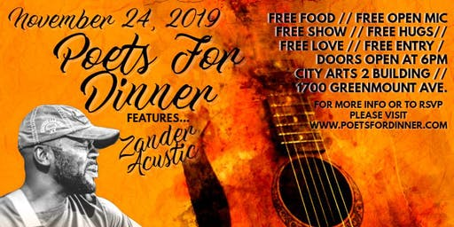 Poets For Dinner November Featuring Zander Acustic