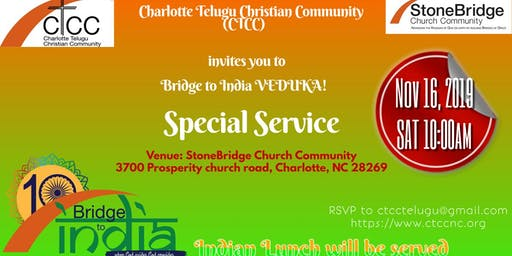 CTCC November Special Service - Bridge to India Veduka