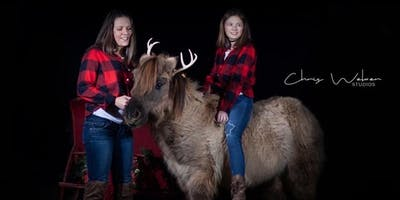 Take your own photos with an 1800s sleigh, Santa and reindeer!