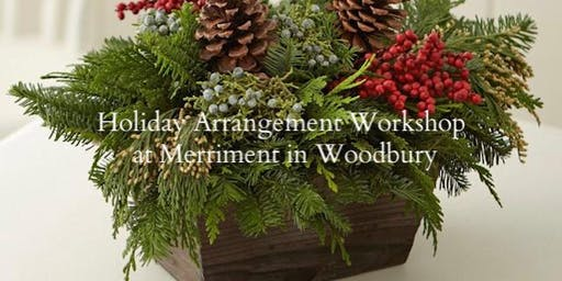 Holiday Balsam and Floral Table Arrangement with Merriment in Woodbury
