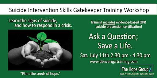 Suicide Intervention Skills Gatekeeper Training Workshop
