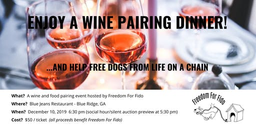 A wine pairing dinner hosted by Freedom For Fido