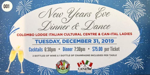 Colombo Lodge New Years Eve Dinner & Dance