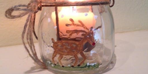 Pour & Paint Reindeer on Mason Jars