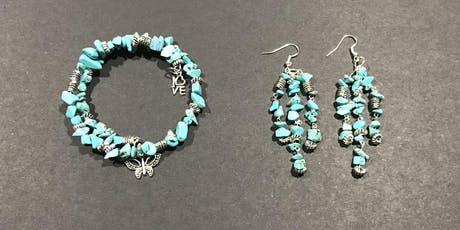 Make your own wrap-around bracelet and earring set with natural gemstones! tickets