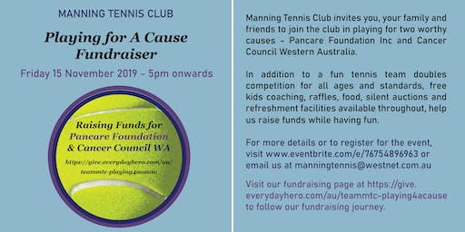 Manning Tennis Club's  Playing For A Cause (Fundraiser)