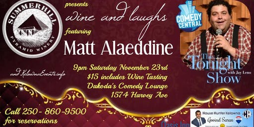 Summerhill Pyramid Winery presents Wine & Laughs with Matt Alaeddine