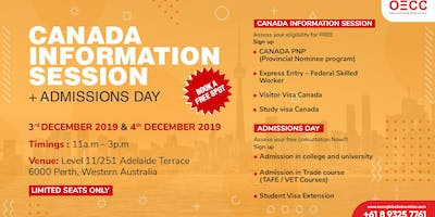 FREE CANADA INFORMATION SESSION + ADMISSIONS DAY | PERTH