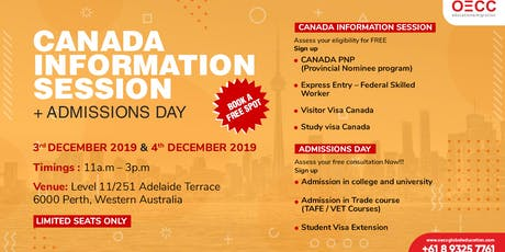 FREE CANADA INFORMATION SESSION + ADMISSIONS DAY | PERTH tickets