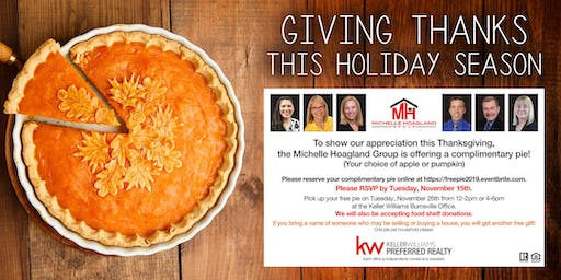 Michelle Hoagland Group Thanksgiving Pie Give-Away