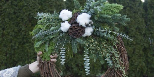 Brass Hoop Wreath Workshop at Birdwell's with Alice's Table