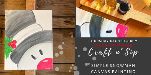 Simple Snowman Craft n' Sip - Canvas Painting