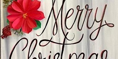 Mixed Media Poinsettia Painting