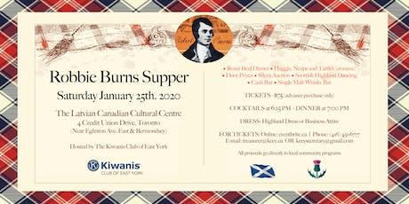 East York Kiwanis Robbie Burns Supper 2020 tickets