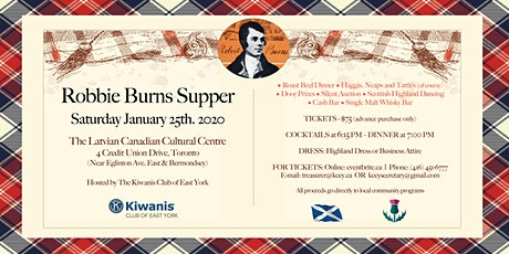 East York Kiwanis Robbie Burns Supper 2020 tickets