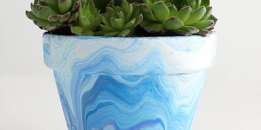 Friday Nov.29 Acrylic Pouring Making Marble Terracotta Pots Kids Age 4-13