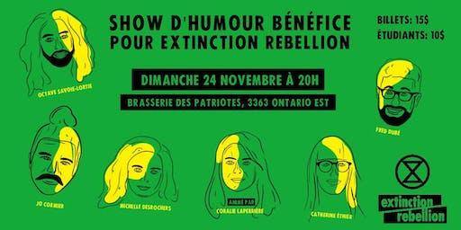 Soirée d'humour bénéfice pour Extinction Rebellion