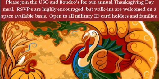 2019 Thanksgiving with the USO and Boudro's (2:00pm - 2:45pm)
