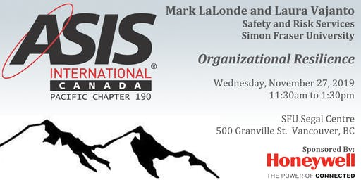 Organizational Resilience with Mark LaLonde and Laura Vajanto from Simon Fraser University