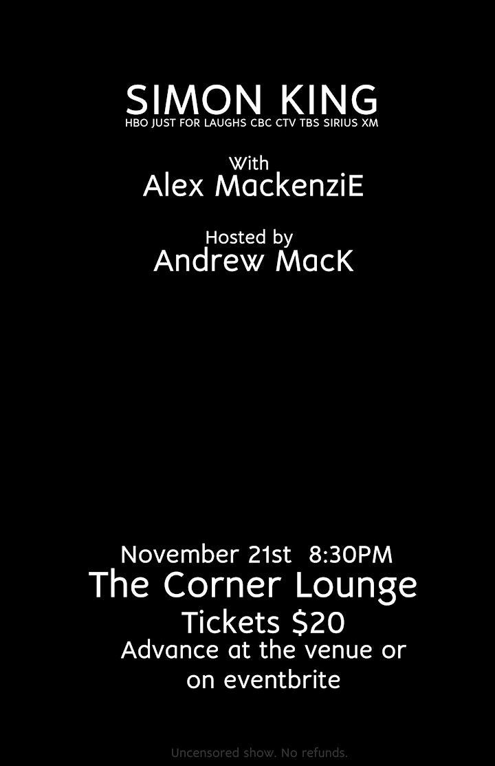 Stand Up Comedy W/ Simon King &  Alex Mackenzie image