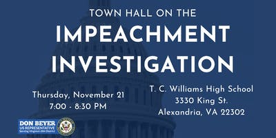 Rep. Don Beyer's Town Hall On The Impeachment Investigation