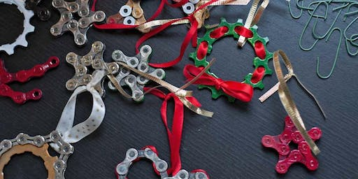Repurposed Bicycle parts ornament making