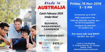 Info Session kuliah Business di Australia, Beasiswa s/d 50%! (Free Event)