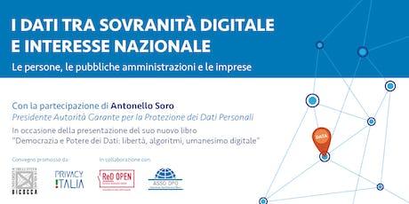 I dati tra sovranità digitale e interesse nazionale biglietti