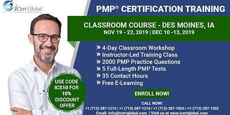 PMP® Classroom Certification Training Course in Des Moines, IA | 4-Day PMP BootCamp  tickets