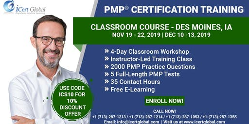 PMP® Classroom Certification Training Course in Des Moines, IA | 4-Day PMP BootCamp